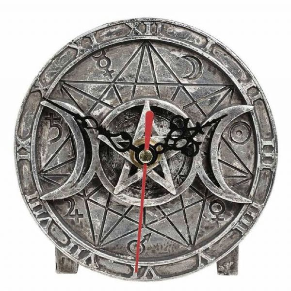 ALCHEMY GOTHIC  Wiccan Triple Moon Desk Clock